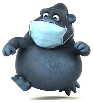 Gorille de dessin animé amusant avec un masque