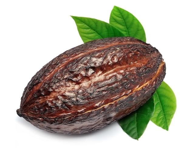Gousse de cacao avec des feuilles gros plan sur fond blanc.