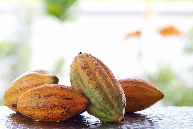 Gousses de cacao pondent sur une table en bois