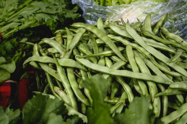 Gousses de haricots verts frais