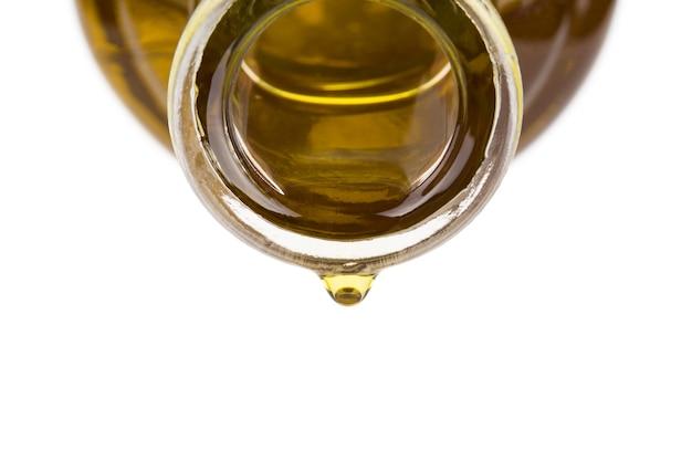 Goutte d'huile sur une bouteille.