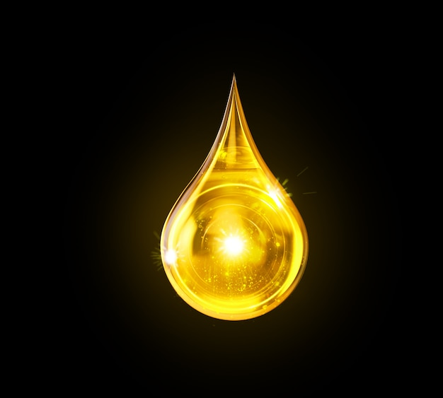 Goutte d'huile isolée, liquide jaune doré ou illustration 3d de l'huile de lubrifiant moteur.