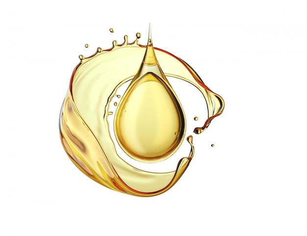 Goutte d'huile d'olive sur fond blanc