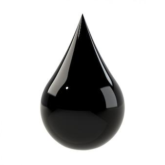 Goutte noire isolée sur blanc.