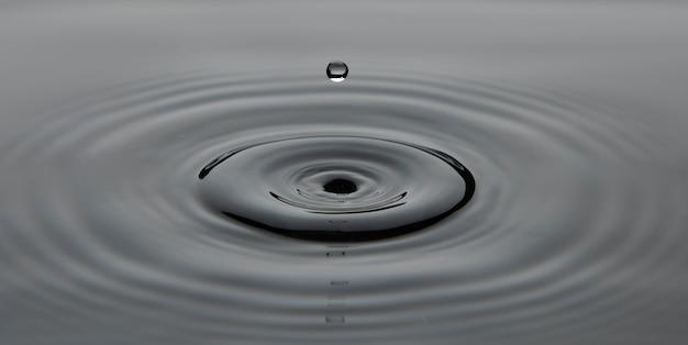 Goutte tombant dans l'eau faisant des ondulations à la surface
