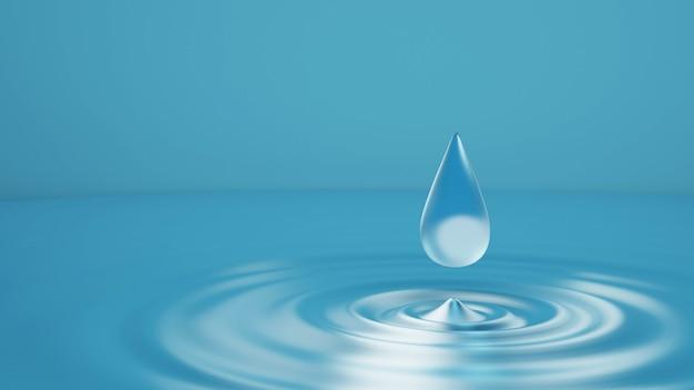 Gouttelettes d'eau bleues abstraites à la surface de l'eau. les vagues s'étendent à l'infini. vue rapprochée de face, rendu 3d