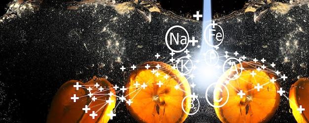 Gouttes d'eau sur orange douce mûre. fond de mandarine frais avec espace de copie pour votre texte. notion végétarienne.