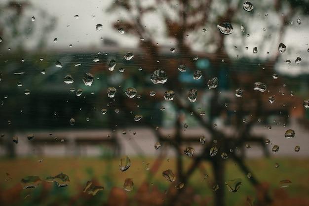 Gouttes d'eau sur le verre temps de pluie d'automne