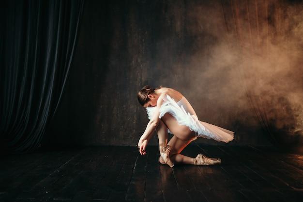 Grâce de ballerine en mouvement sur scène théâtrale