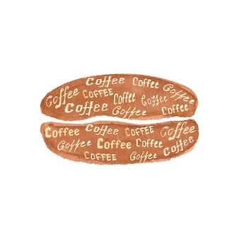Grain de café dessiné à la main à l'aquarelle avec lettrage café isolé sur une surface blanche