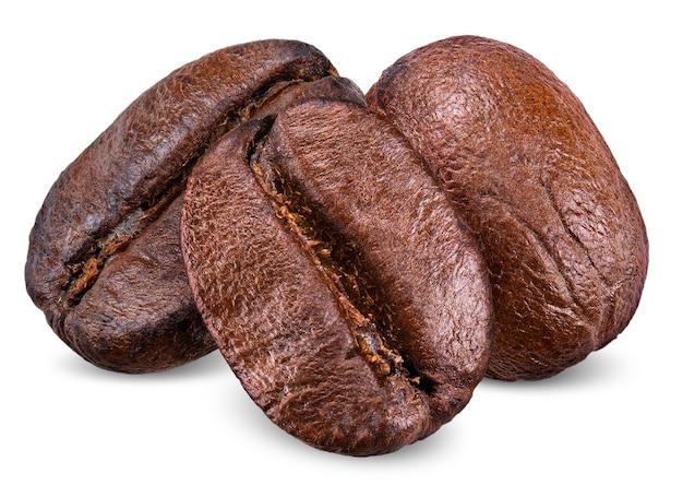 Grain de café isolé sur un tracé de détourage blanc