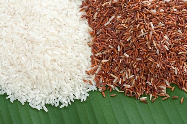Grain de riz blanc et rouge sur feuille de bananier