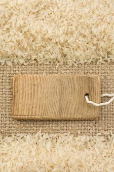 Grain de riz et toile de jute sac comme texture de surface