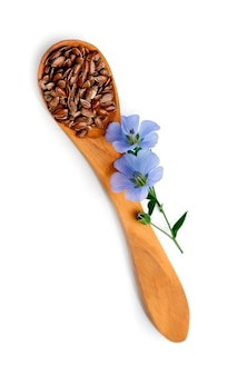 Graine de lin sur cuillère en bois isolé sur fond blanc.