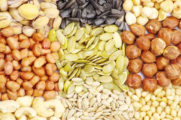 Graines et noix avec collection