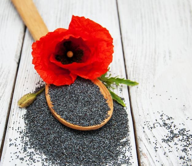 Graines de pavot et fleurs
