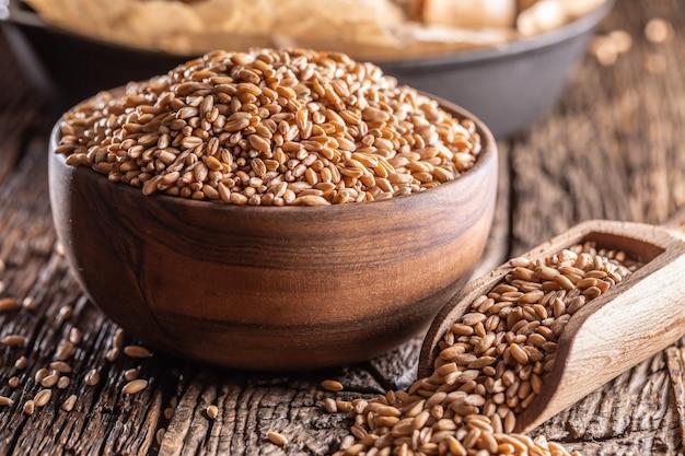 Grains de blé-l'ingrédient principal du pain rempli dans un bol en bois et une cuillère rustique en bois. cuire du pain croûté dans le fond.