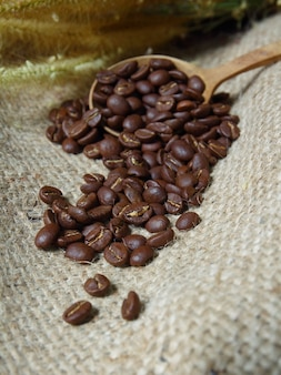 Grains de café dans une cuillère en bois sur un sac