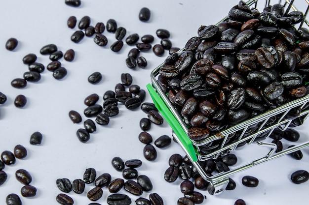 Grains de café dans le panier