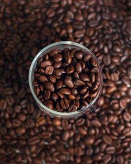 Grains de café dans une tasse en verre