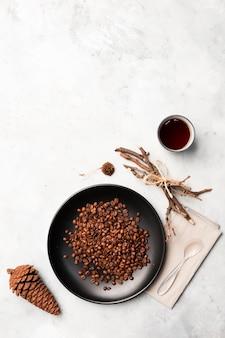 Grains de café avec espace de copie