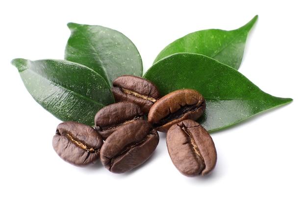 Grains de café avec des feuilles sur blanc