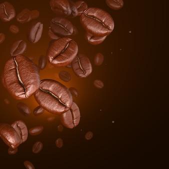 Grains de café rendu 3d sur brun