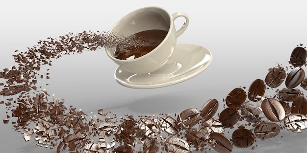 Grains de café rendu 3d dans une tasse avec des éclaboussures de café liquide sur fond blanc