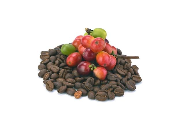 Grains de café rouges isolés sur blanc