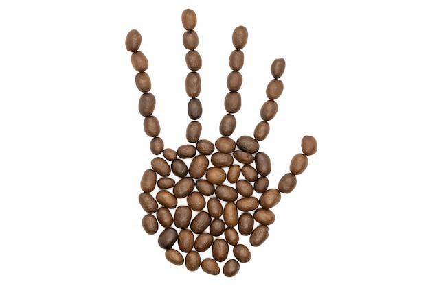 Grains de café torréfiés, concept de forme de main humaine, isolé.