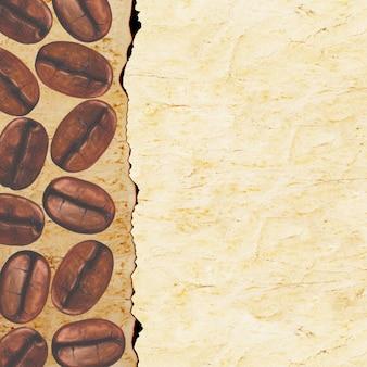 Grains de café torréfiés peints à la main à l'aquarelle sur une vieille surface de papier