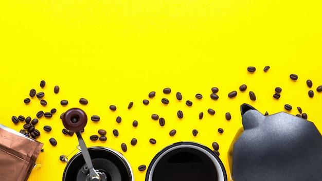 Grains de café et trucs de café sur fond jaune
