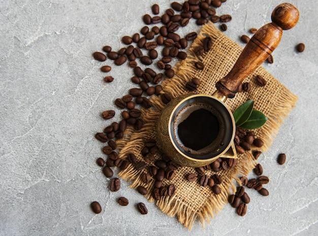 Grains de café et turk