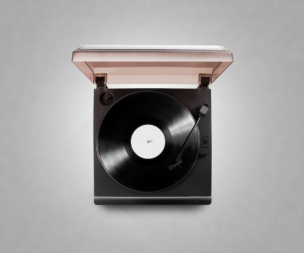 Gramophone vinyle joueur jouant un disque isolé