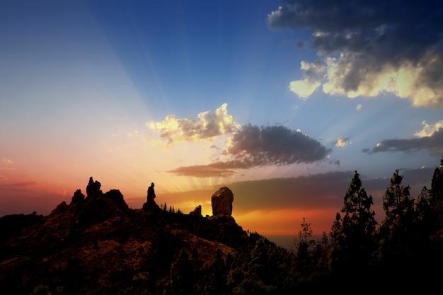 Gran canaria roque nublo fraile coucher de soleil spectaculaire
