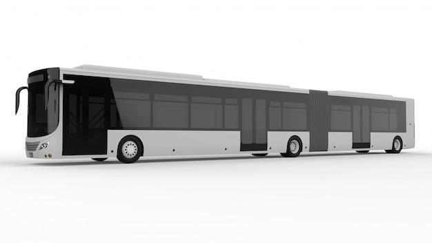 Un grand autobus urbain avec une partie allongée supplémentaire pour une grande capacité de passagers pendant les heures de pointe ou le transport de personnes. modèle de modèle pour placer vos images et vos inscriptions.
