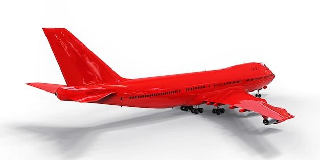 Grand avion de ligne de grande capacité avion rouge sur fond blanc isolé illustration 3d