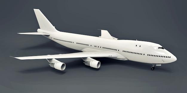 Grand avion de ligne de grande capacité pour les longs vols transatlantiques avion blanc sur fond gris iso...