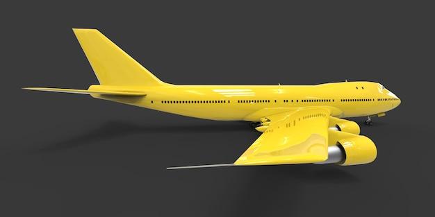Grand avion de ligne pour les longs vols transatlantiques avion jaune sur fond gris