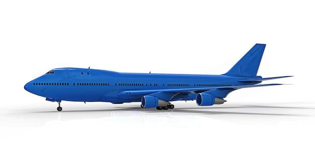 Grand avion de ligne pour les vols transatlantiques avion bleu sur fond blanc