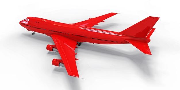 Grand avion de passagers de grande capacité illustration 3d de l'avion rouge