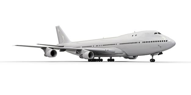 Grand avion de passagers de grande capacité pour de longs vols transatlantiques. avion blanc sur une surface isolée blanche