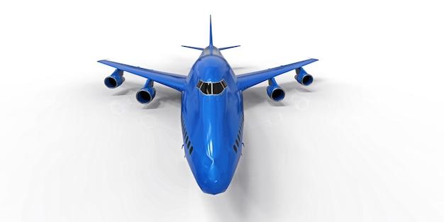 Grand avion de passagers de grande capacité pour les longs vols transatlantiques bleu sur fond blanc