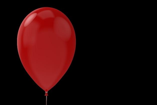 Un grand ballon d'horreur halloween rouge avec un tracé de détourage sur fond d'espace de copie noir.