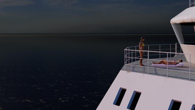 Grand bateau sur la mer au coucher du soleil avec la caméra s'approchant des filles de bronzage