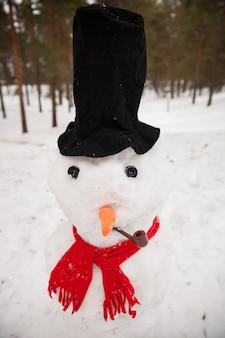 Un grand bonhomme de neige dans la forêt vêtu d'une écharpe rouge et d'un chapeau avec une carotte et une pipe