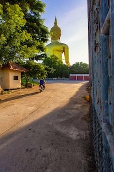 Grand bouddha à wat muang au sanctuaire bouddhiste populaire de la province d'ang thong en thaïlande