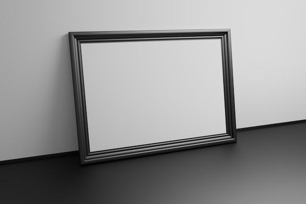 Grand cadre de modèle vierge de galerie noir sur fond noir