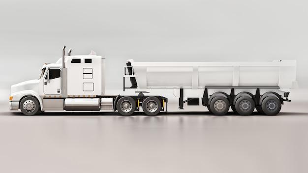 Grand camion américain blanc avec un camion à benne basculante de type remorque pour le transport de marchandises en vrac sur un fond gris. illustration 3d.