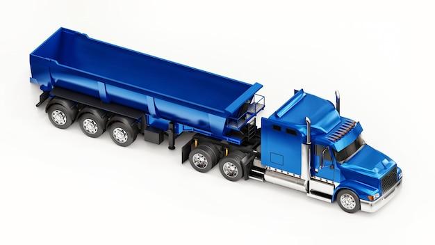 Grand camion américain bleu avec un camion à benne basculante de type remorque pour le transport de marchandises en vrac sur fond blanc. illustration 3d.